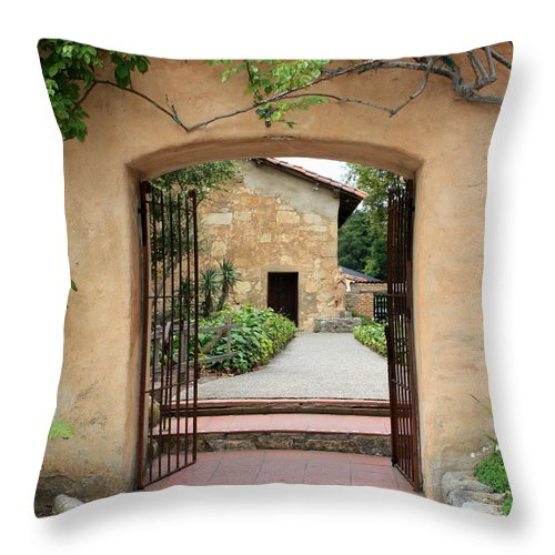 Carmel Mission Throw Pillow featuring the photograph Carmel Mission Path by Carol Groenen