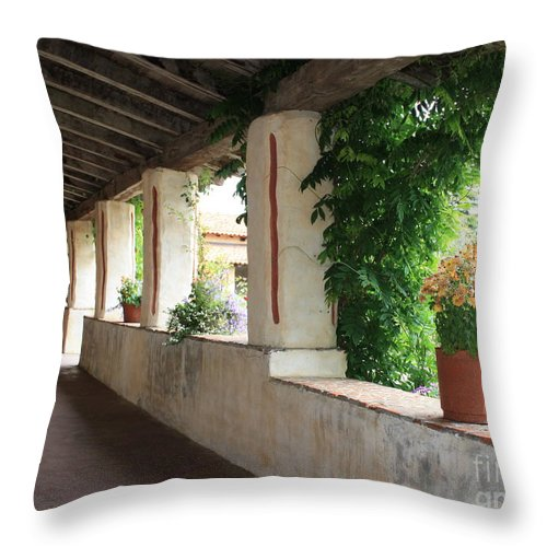 Carmel Mission Walkway Throw Pillow featuring the photograph Carmel Mission Walkway by Carol Groenen