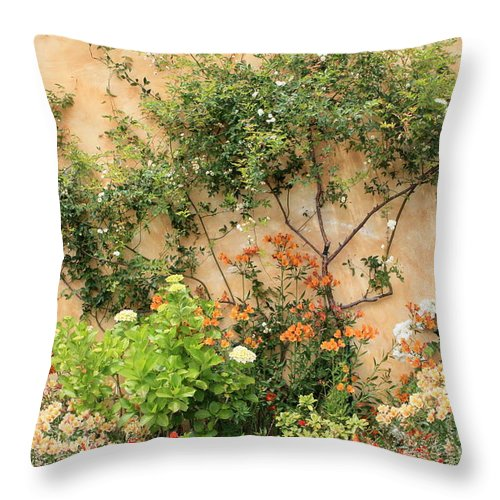 Carmel Mission Throw Pillow featuring the photograph Carmel Mission Windows by Carol Groenen