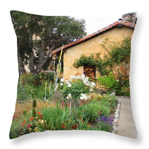 Carmel Throw Pillow featuring the photograph Carmel Mission With Path by Carol Groenen