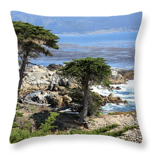 California Throw Pillow featuring the photograph Carmel Seaside With Cypresses by Carol Groenen