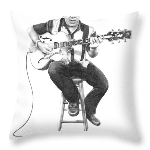 Drawing Throw Pillow featuring the drawing Carmine D'amico by Murphy Elliott