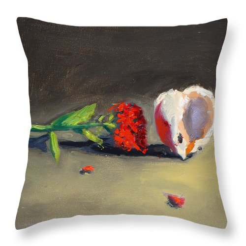 Carnation Flower Throw Pillow featuring the painting Carnation Flower And Sea Shell by Bela Csaszar