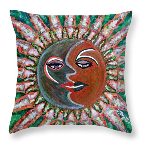 Carnival Throw Pillow featuring the painting Carnavale Sunset by Donna Proctor