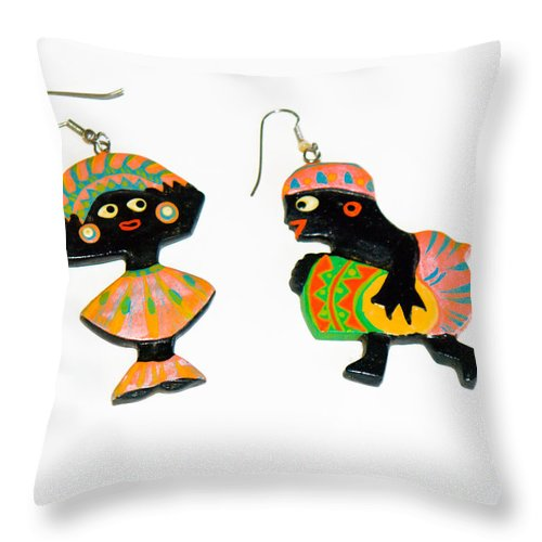 Earrings; Carnival; African; American; Afro; Woman; Pierced; Ears; Hoops; Dancer; Drummer; Celebrati Throw Pillow featuring the photograph Carnival by Allan Hughes