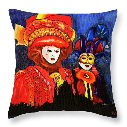Venice Throw Pillow featuring the painting Carnival by David Ter-Avanesyan