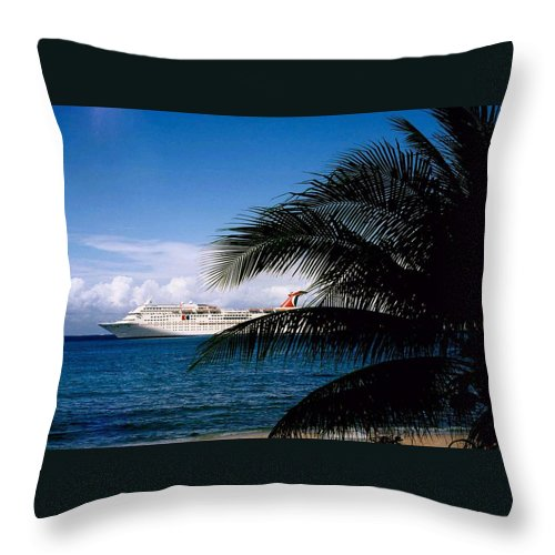 Druise Throw Pillow featuring the photograph Carnival Docked At Grand Cayman by Gary Wonning