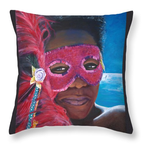 Carnival Throw Pillow featuring the painting Carnival Mask 1 by Fiona Jack