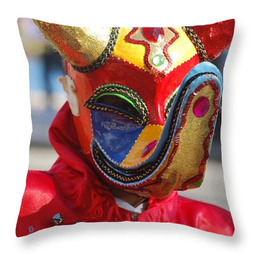 Throw Pillow featuring the photograph Carnival Red Duck Portrait by Heather Kirk