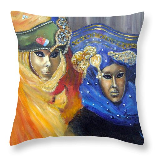 Venice Throw Pillow featuring the painting Carnival Time IIi by Leonardo Ruggieri