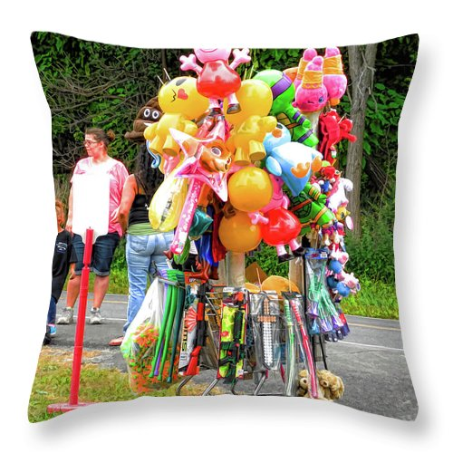 Carnival Vendor Throw Pillow featuring the painting Carnival Vendor 3 by Jeelan Clark