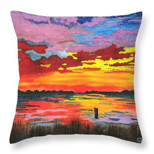 Original Painting Throw Pillow featuring the painting Carolina Sunset by Patricia Griffin Brett