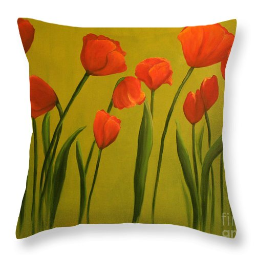 Red Throw Pillow featuring the painting Carolina Tulips by Carol Sweetwood