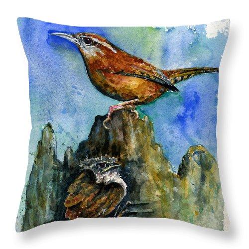 Wren Throw Pillow featuring the painting Carolina Wren And Baby by John D Benson
