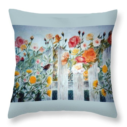 Roses; Flowers; Sc Wren Throw Pillow featuring the painting Carolina Wren And Roses by Ben Kiger