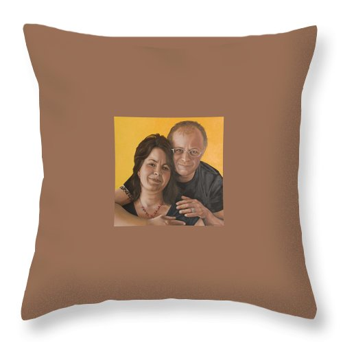 Portrait Throw Pillow featuring the painting Caroline And Rob by Rob De Vries