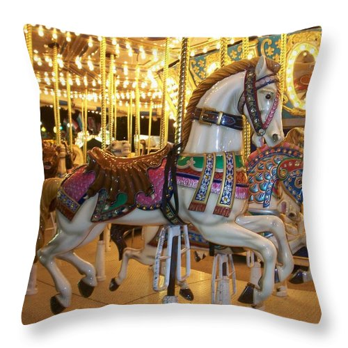 Carosel Horse Throw Pillow featuring the photograph Carosel Horse by Anita Burgermeister