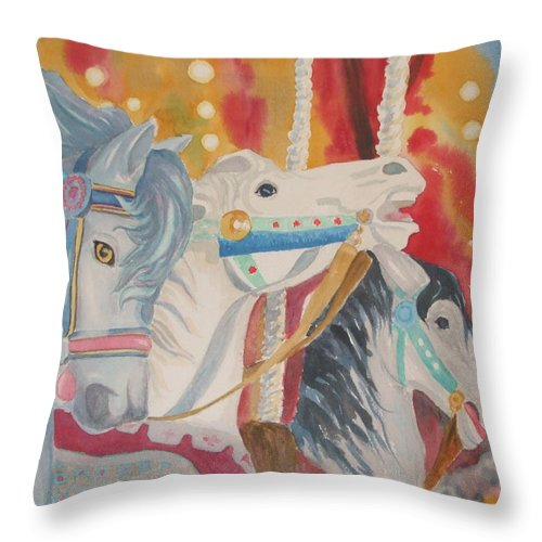 Carousel Throw Pillow featuring the painting Carousel 1 by Ally Benbrook