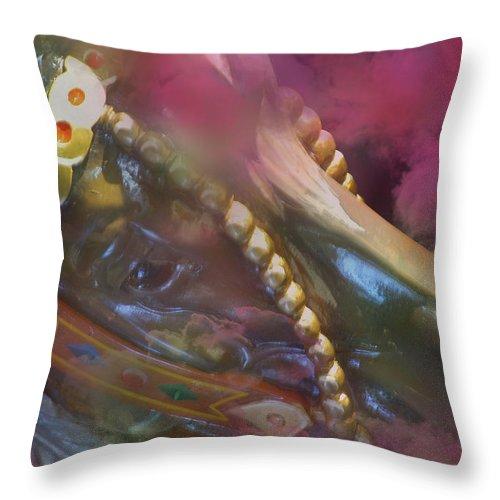 Horse Throw Pillow featuring the photograph Carousel Dreams by Lori Seaman