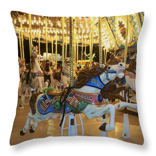 Carousel Horse Throw Pillow featuring the photograph Carousel Horse 3 by Anita Burgermeister