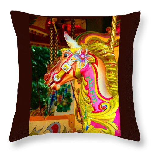 Alfie Throw Pillow featuring the photograph Carousel Horse London Alfie England by Heather Lennox