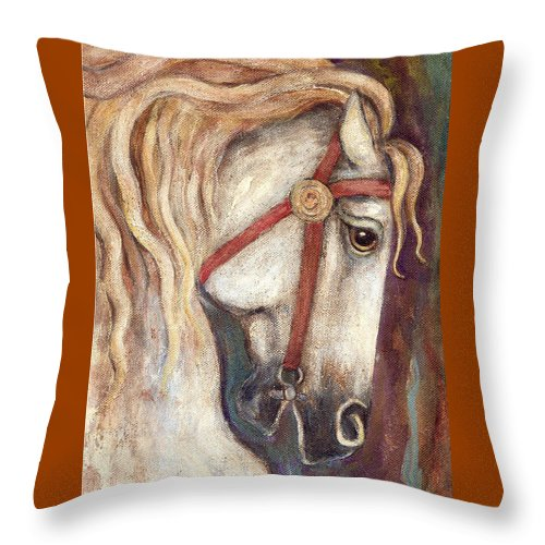 Horse Painting Throw Pillow featuring the painting Carousel Horse Painting by Frances Gillotti