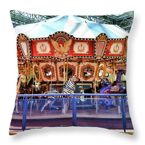 Carousel Inside The Mall Throw Pillow featuring the painting Carousel Inside The Mall by Jeelan Clark