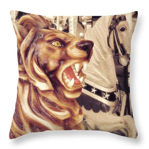 Lion Throw Pillow featuring the photograph Carousel King by JAMART Photography