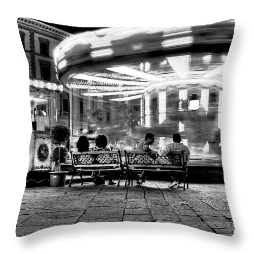 Carousel Throw Pillow featuring the photograph Carousel by Nelson Mineiro
