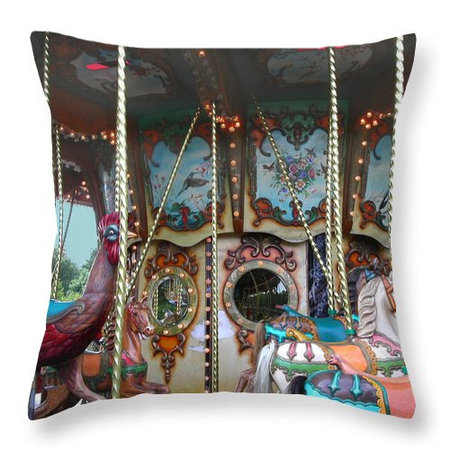 Carousel Throw Pillow featuring the photograph Carousel With Mirrors by Anne Cameron Cutri