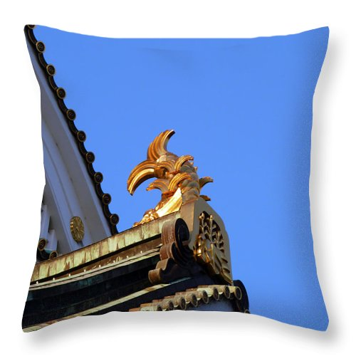 Golden Carp Motif Throw Pillow featuring the photograph Carp In Sunshine by Baato
