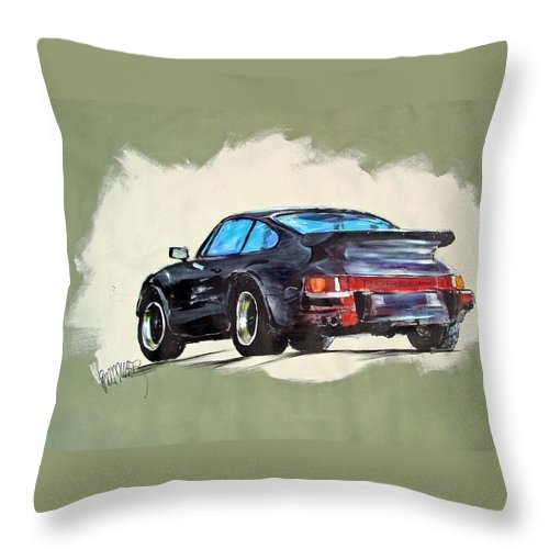 Auto Throw Pillow featuring the painting Carrera by Paul Miller
