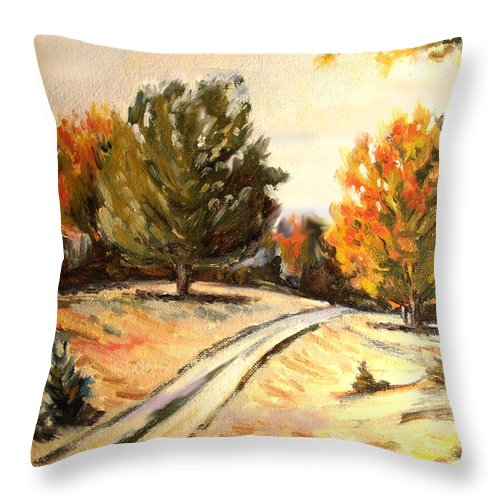 Oil Painting Throw Pillow featuring the painting Carriage Path by Karla Beatty