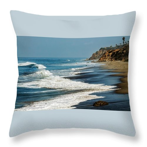 Beach Throw Pillow featuring the photograph Carrillo Beach by Tim Keagy