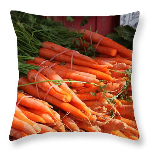 Stilllife Throw Pillow featuring the photograph Carrot Bounty by Portraits By NC