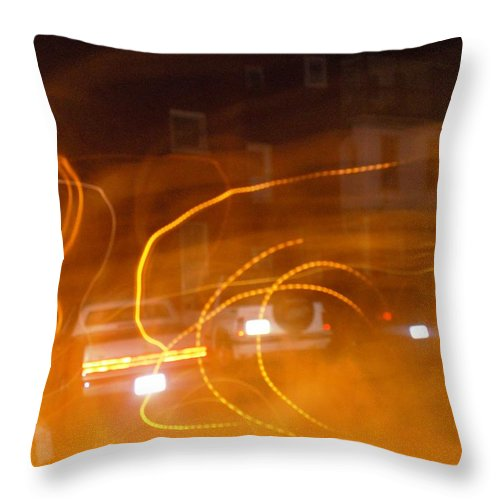 Photograph Throw Pillow featuring the photograph Cars On Fire by Thomas Valentine