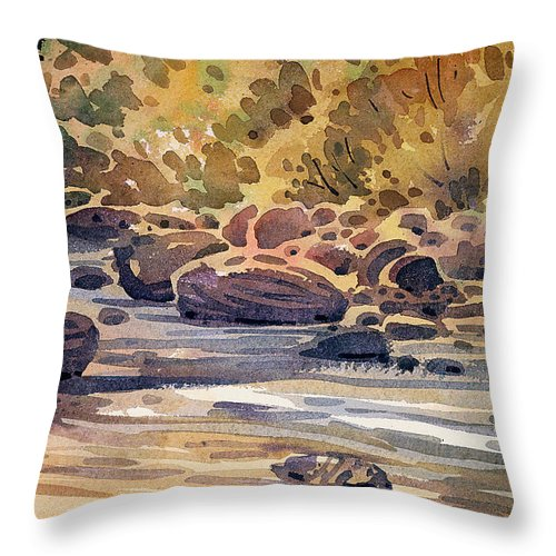 Carson River Throw Pillow featuring the painting Carson River In Autumn by Donald Maier