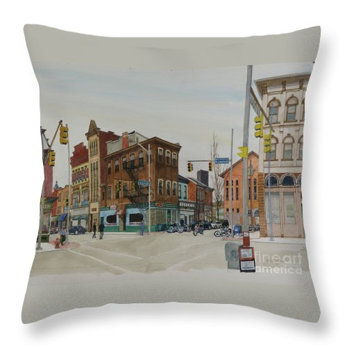 Pittsburgh Throw Pillow featuring the painting Carson Street Southside Pittsburgh by Robert Bowden