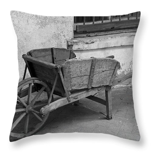 Cart Throw Pillow featuring the photograph Cart For Sale II by Suzanne Gaff