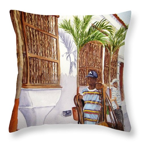 Landscape Throw Pillow featuring the painting Cartagena Peddler I by Julia RIETZ