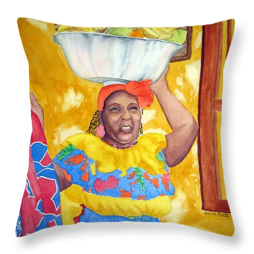 Cartagena Throw Pillow featuring the painting Cartagena Peddler II by Julia RIETZ