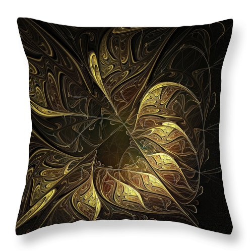 Digital Art Throw Pillow featuring the digital art Carved In Gold by Amanda Moore
