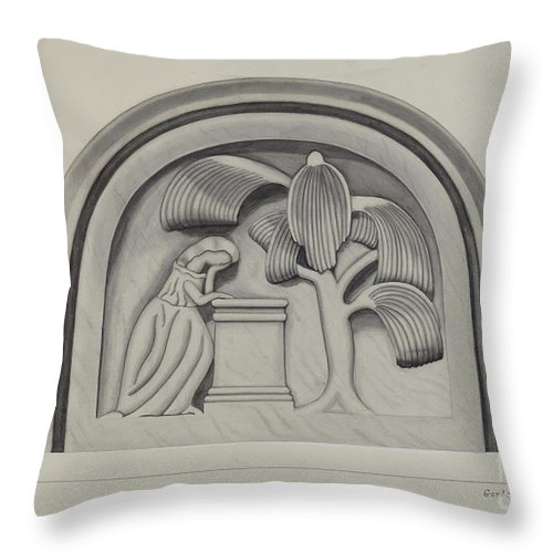 Throw Pillow featuring the drawing Carving For A Tombstone by Gordena Jackson