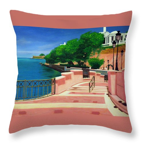 Landscape Throw Pillow featuring the painting Casa Blanca - Puerto Rico by Tito Santiago