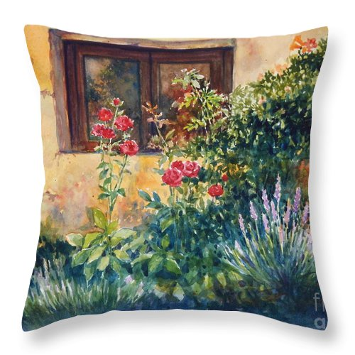 Roses Throw Pillow featuring the painting Casale Grande Rose Garden by Ann Cockerill