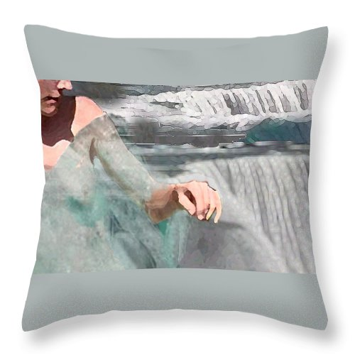 Waterscape Throw Pillow featuring the digital art Cascade by Steve Karol