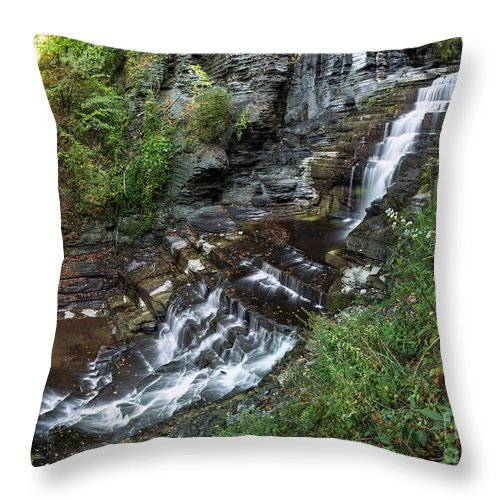 New York Throw Pillow featuring the photograph Cascadilla Falls Creek Gorge Trail Giant's Staircase by Karen Jorstad