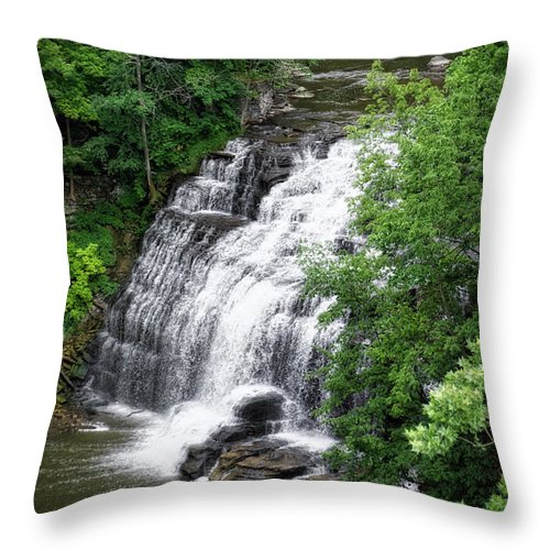 Cornell University Throw Pillow featuring the photograph Cascadilla Waterfalls Cornell University Ithaca New York 03 by Thomas Woolworth