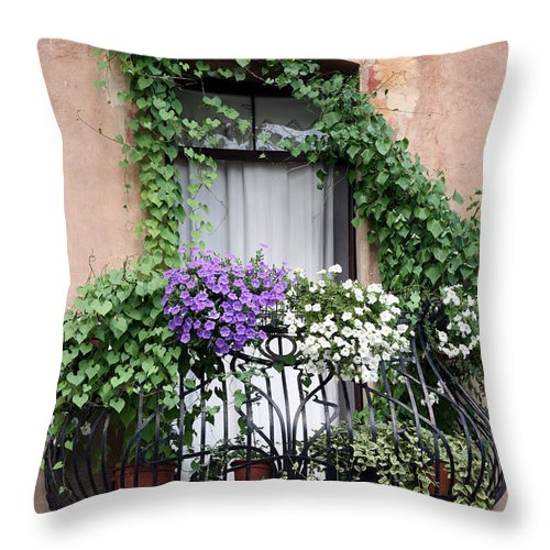 Windows And Doors Throw Pillow featuring the photograph Cascading Floral Balcony by Donna Corless