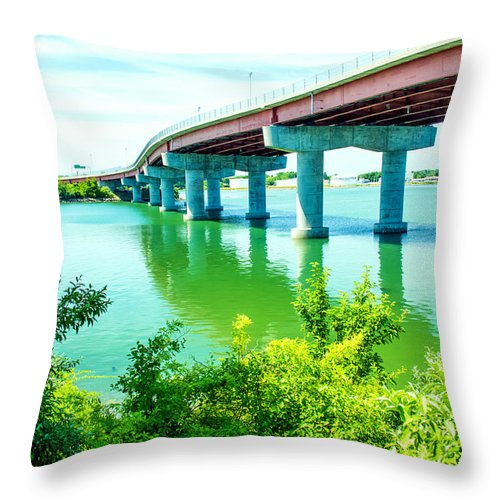 New England Throw Pillow featuring the photograph Casco Bay Bridge by Laurie Breton